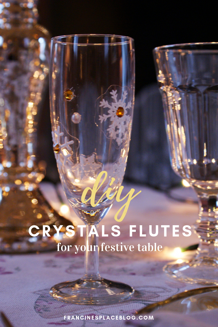 diy decorate crystals flutes glasses christmas festive francinesplaceblog