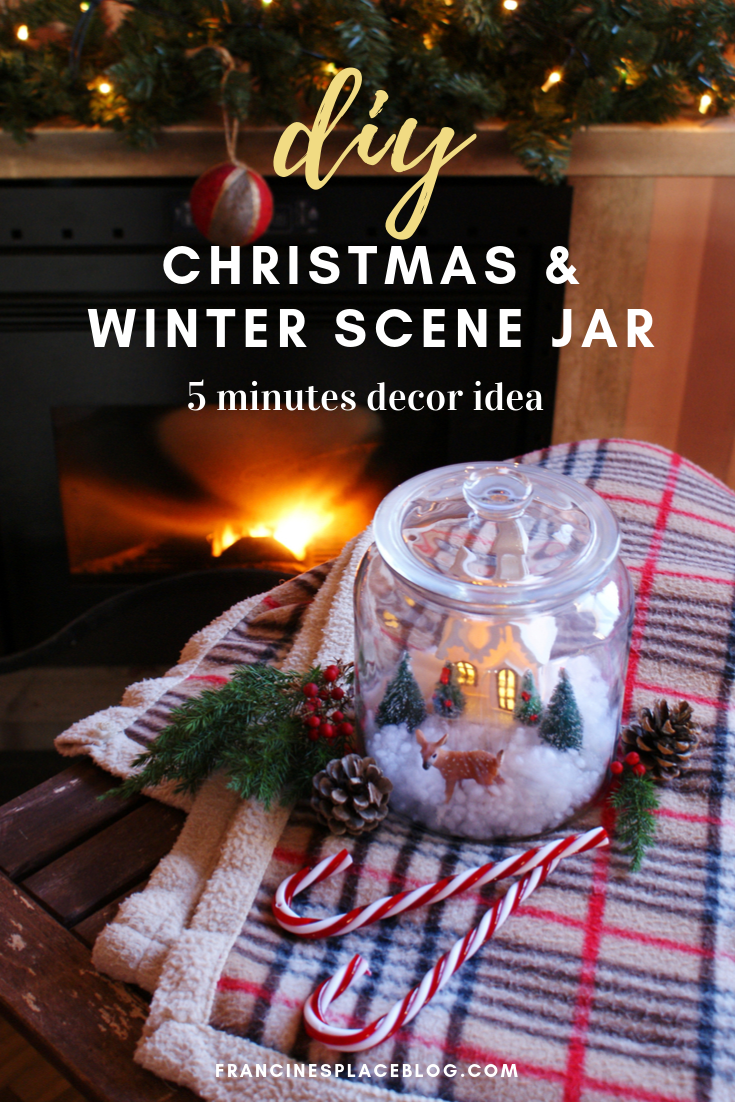 diy christmas winter snow scene jar decor idea tutorial francinesplaceblog