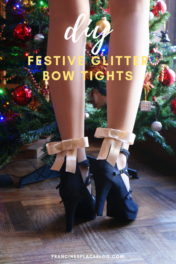 diy festive christmas glitter bow tights francinesplaceblog