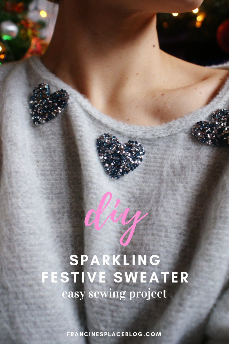 diy sparkling christmas festive sweater easy sewing cozy francinesplaceblog