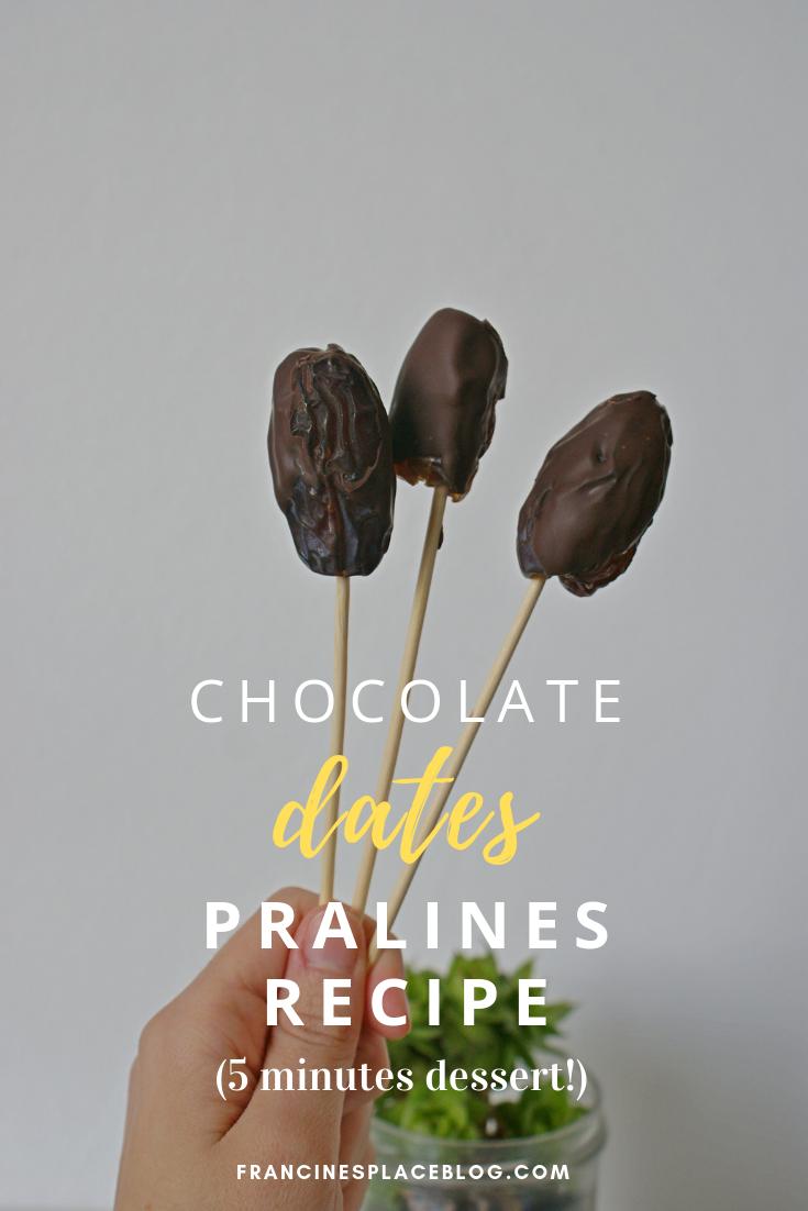 chocolate nuts almonds glazed dates pralines easy dessert idea francinesplaceblog