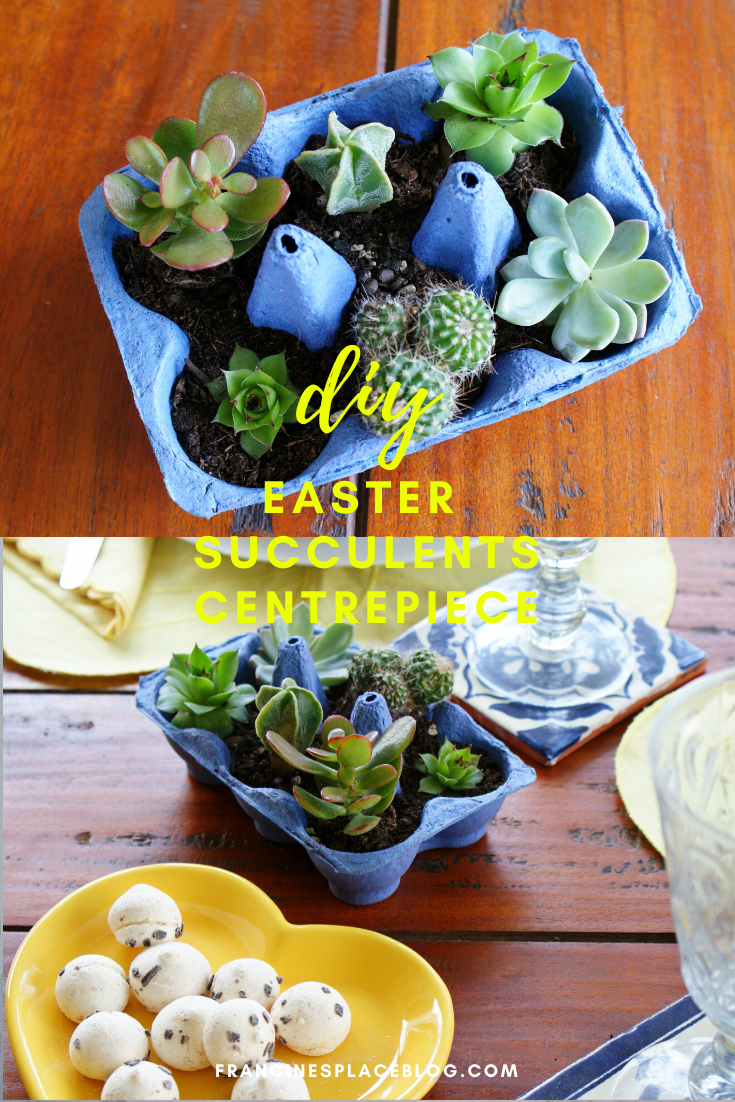 diy easter succulents centrepiece idea table home decor craft last minute francinesplaceblog