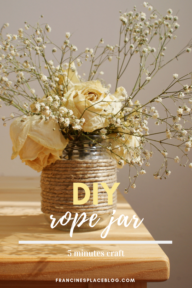 diy rope jar idea handmade tutorial 5 minutes decor francinesplaceblog vase