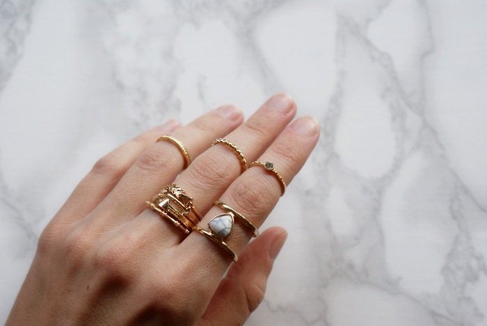rosegal tiny rings set marble