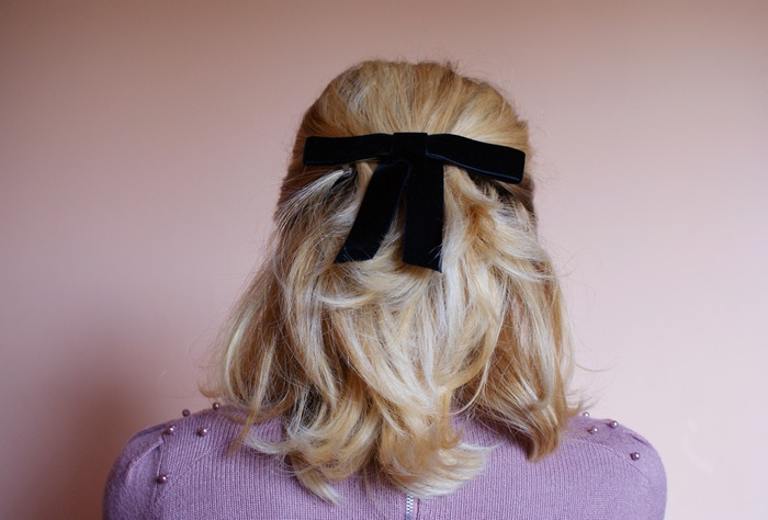 diy bow velvet hair pin