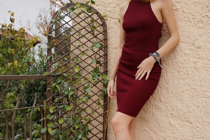 turtleneck dress burgundy fall outfit