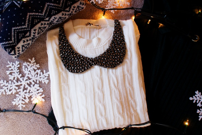 jewel embellished christmas sweater outfit