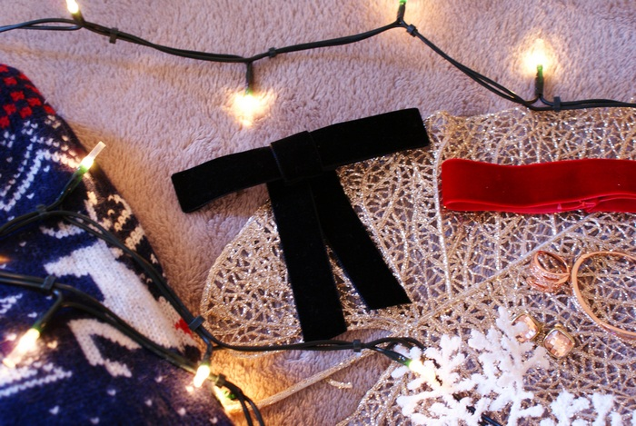bow hair christmas outfit clip