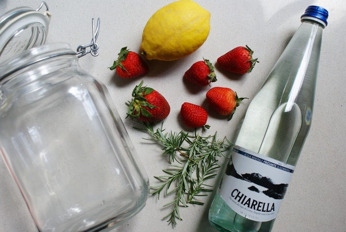 strawberries lemon rosemary detox water