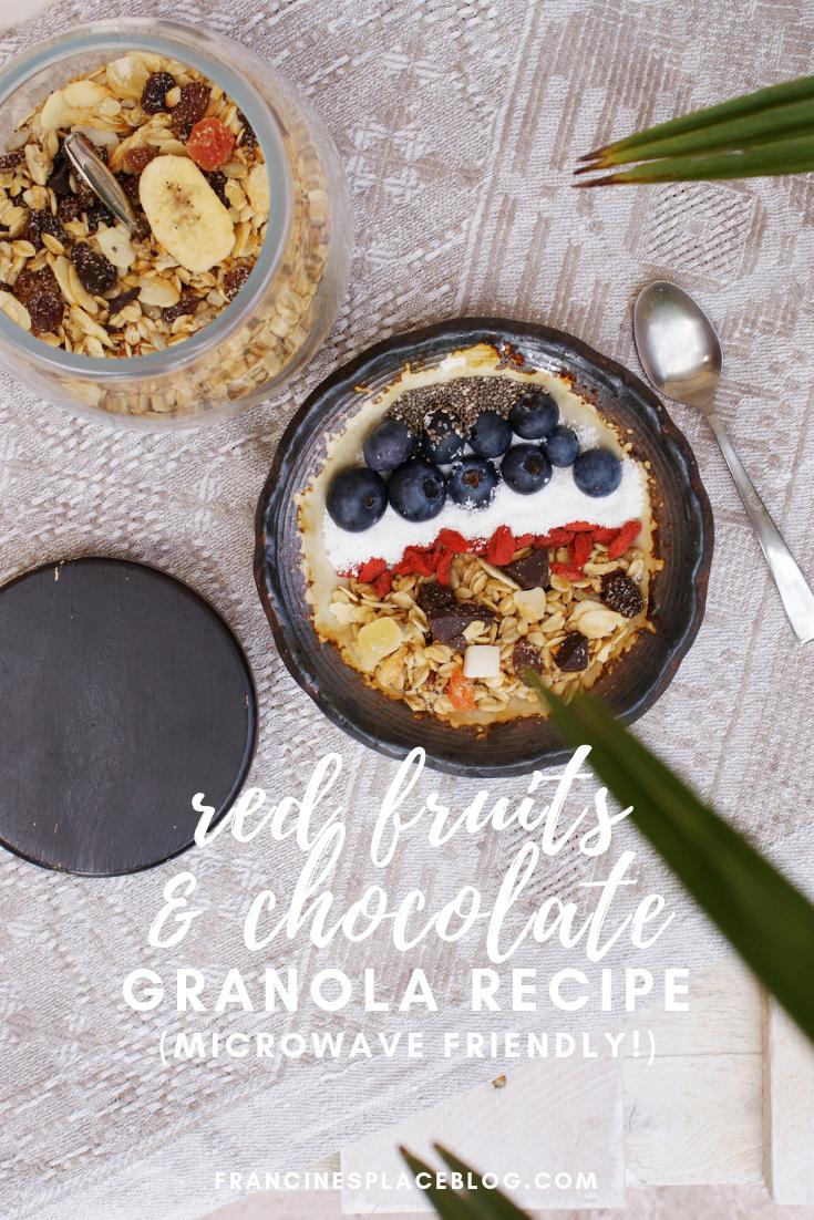 red fruit chocolae granola easy recipe microwave quick ultimate francinesplaceblog