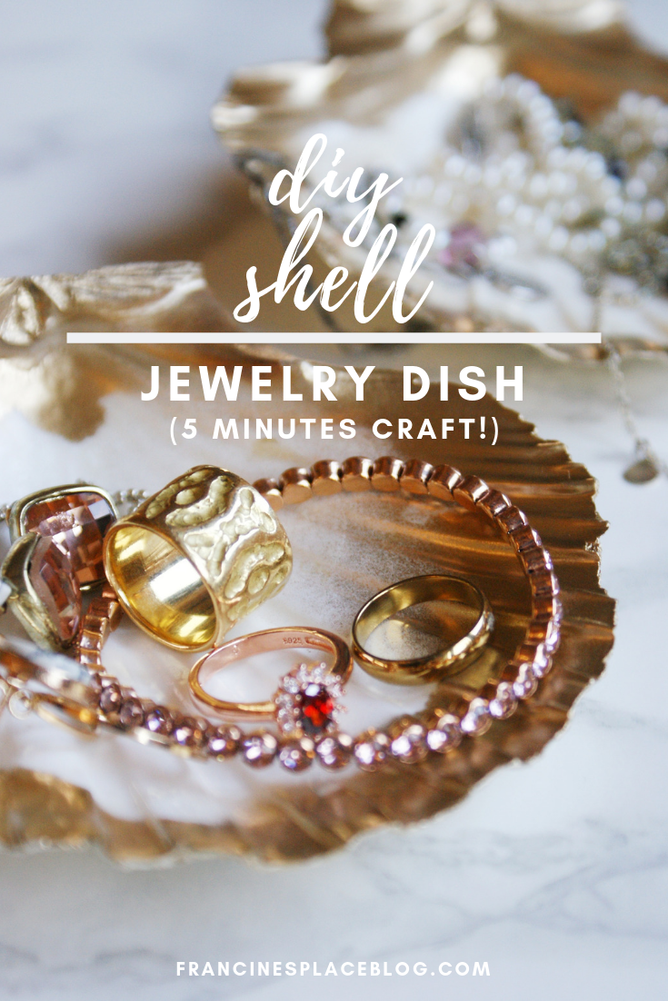 diy gold shell painted jewelry dish holder decor vanity francinesplaceblog