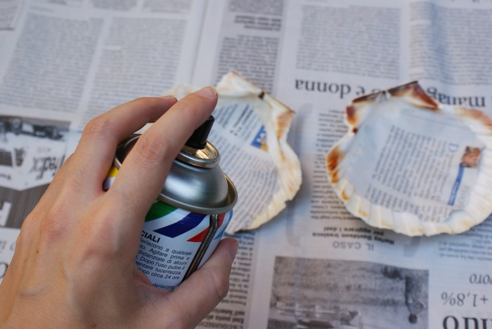 diy painted shell dish decor