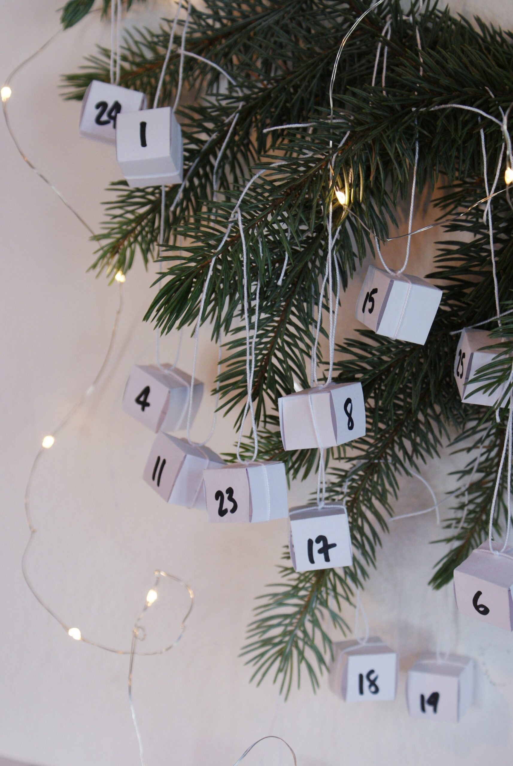 diy minimalist hanging advent calendar