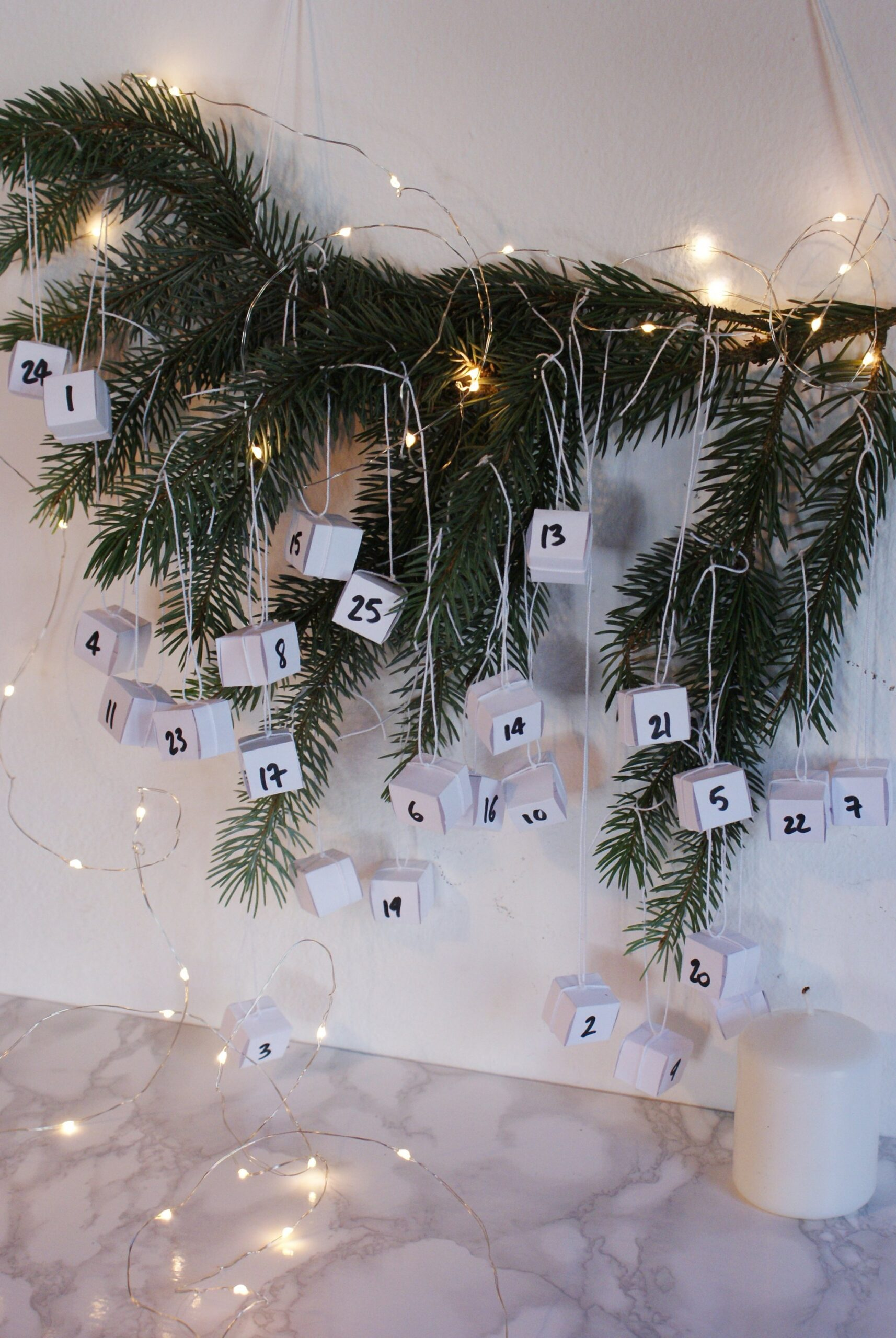 diy minimalist hanging advent calendar idea