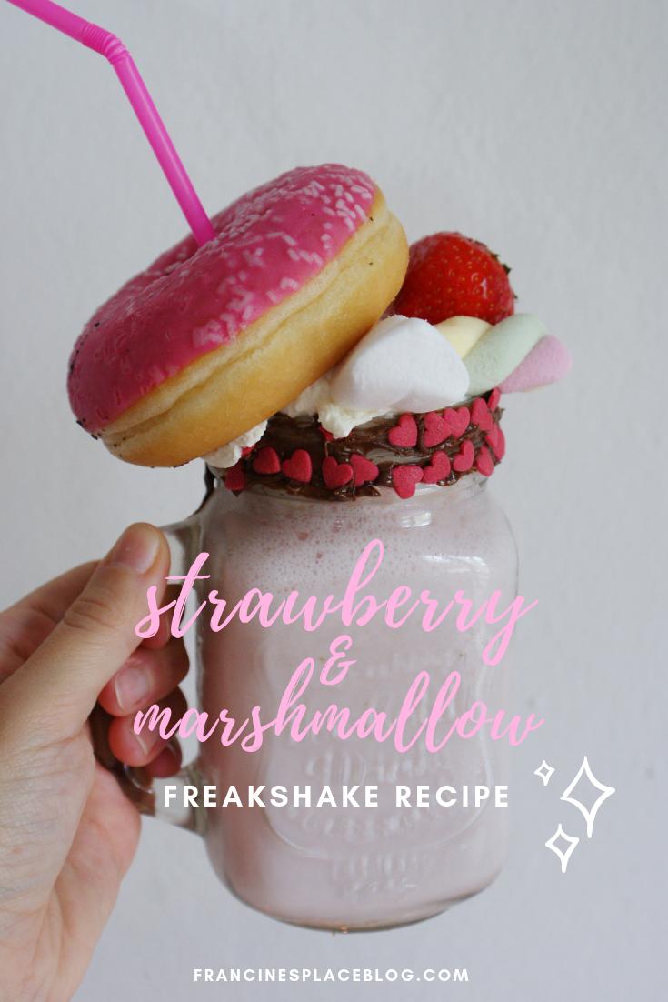 strawberry nutella marshmallow freakshake recipe easy quick francinesplaceblog