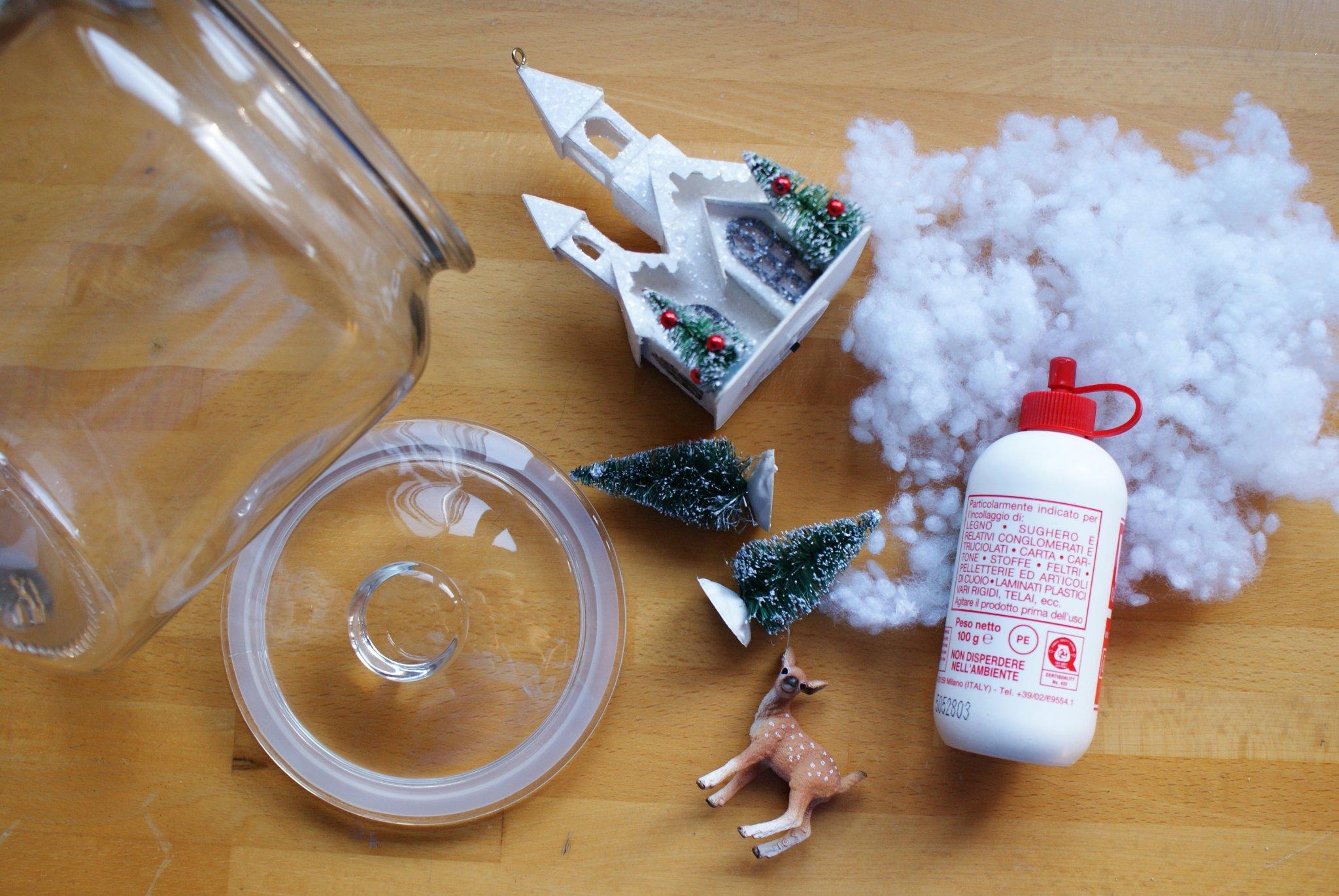 diy winter snow scene jar