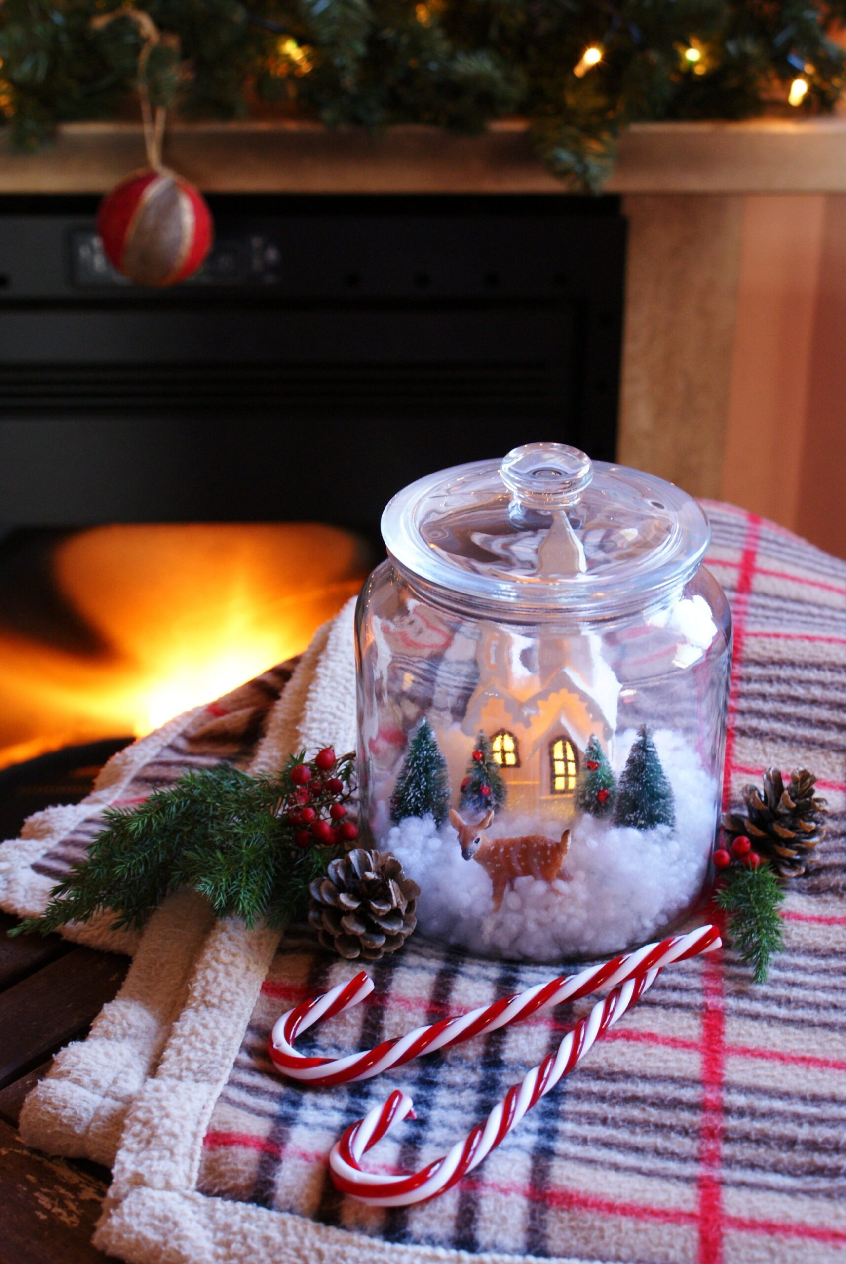 diy winter snow scene globe christmas