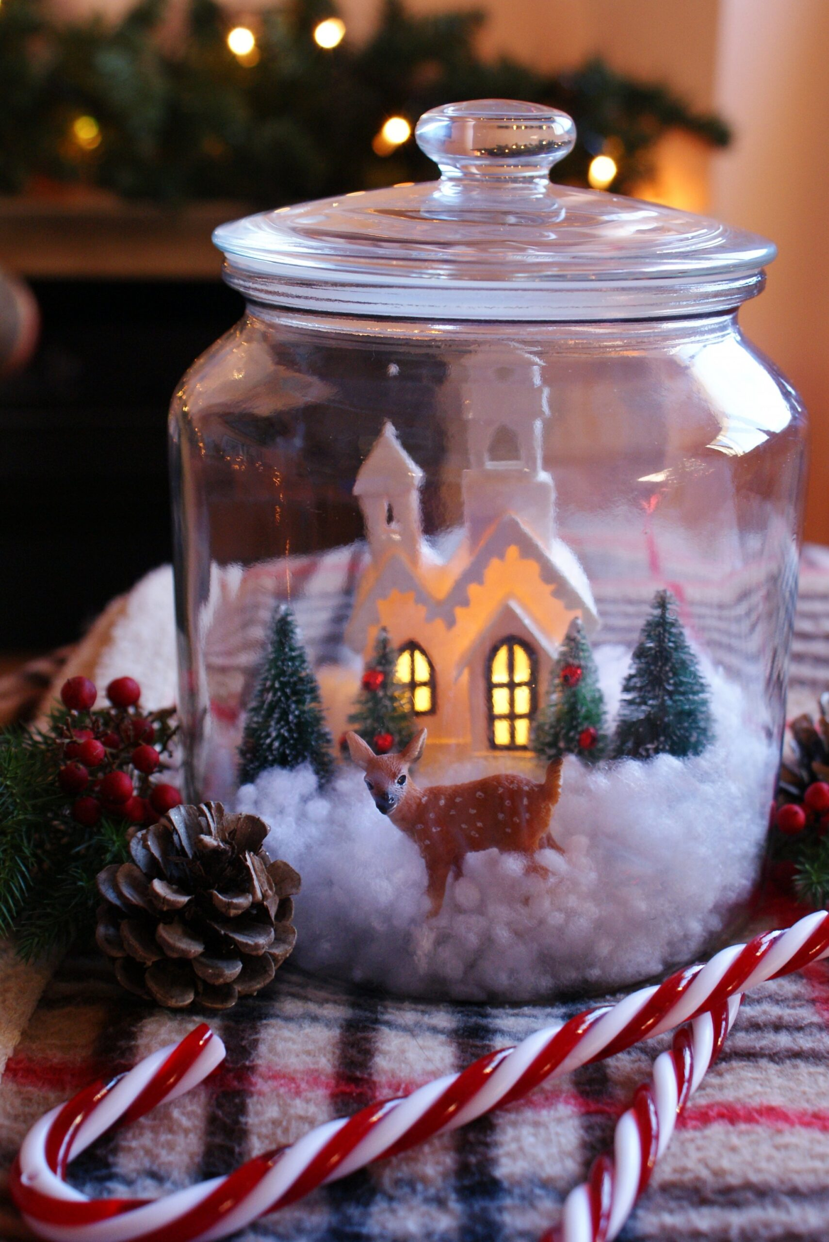 christmas snow scene village jar
