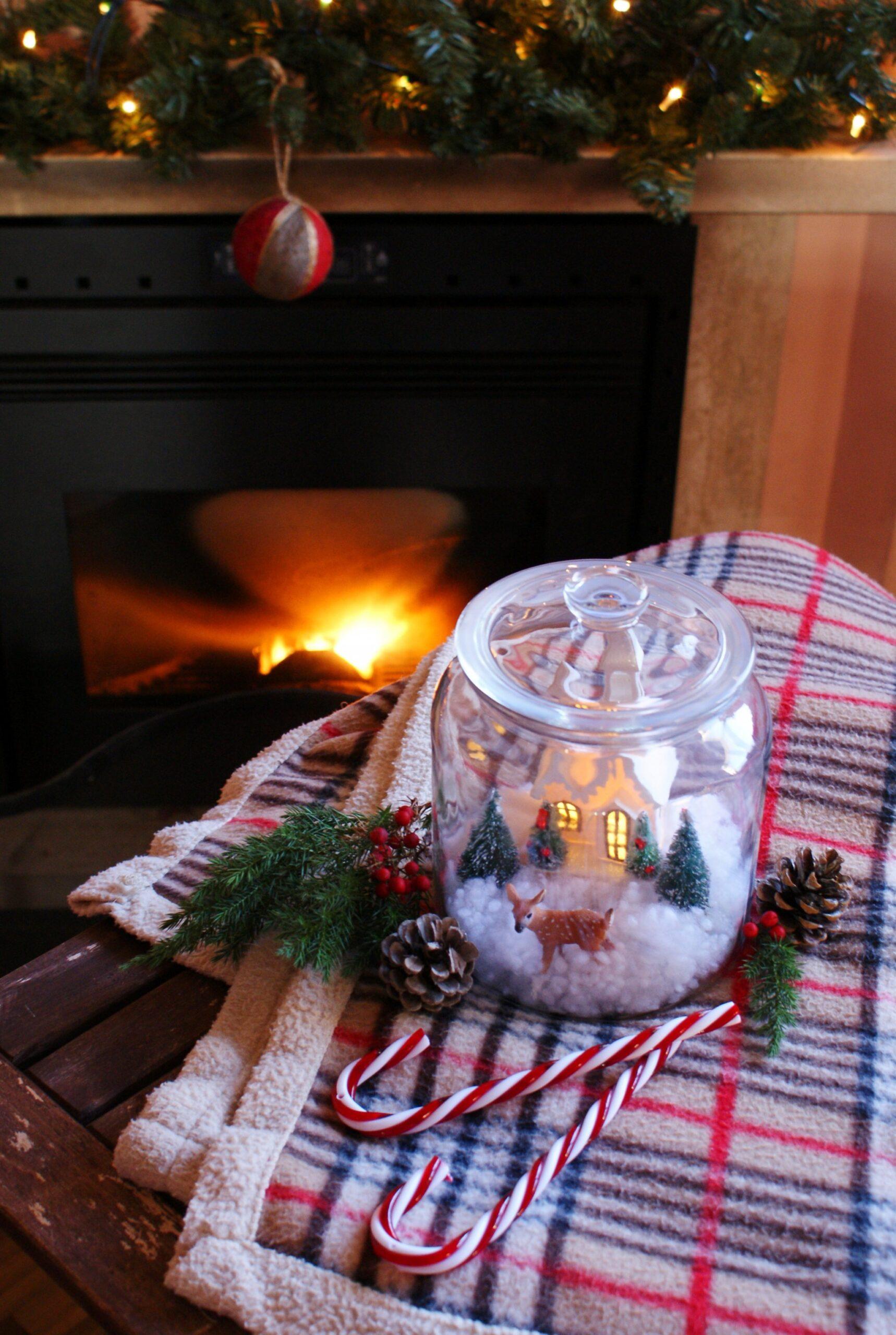 barattolo scena natalizia inverno neve faidate