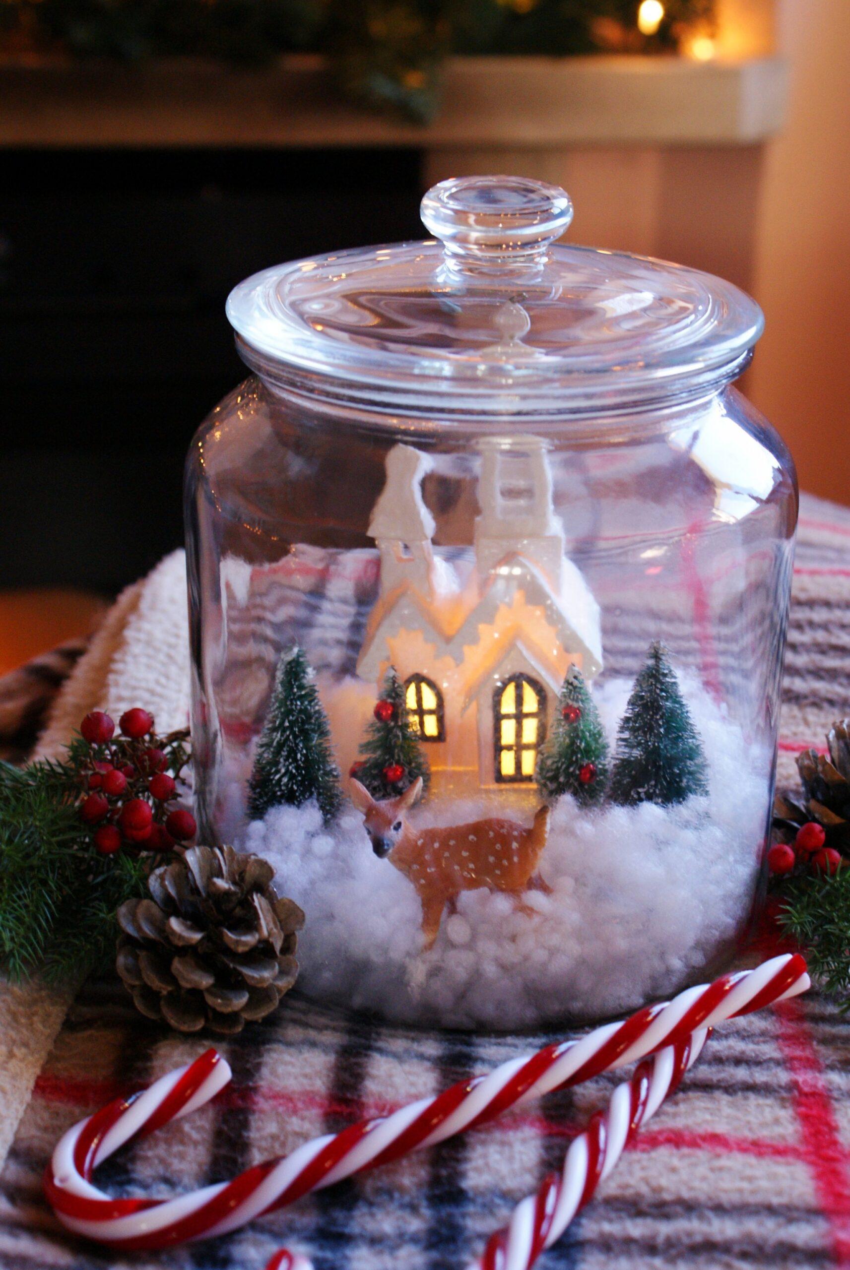 diy winter scene jar snow