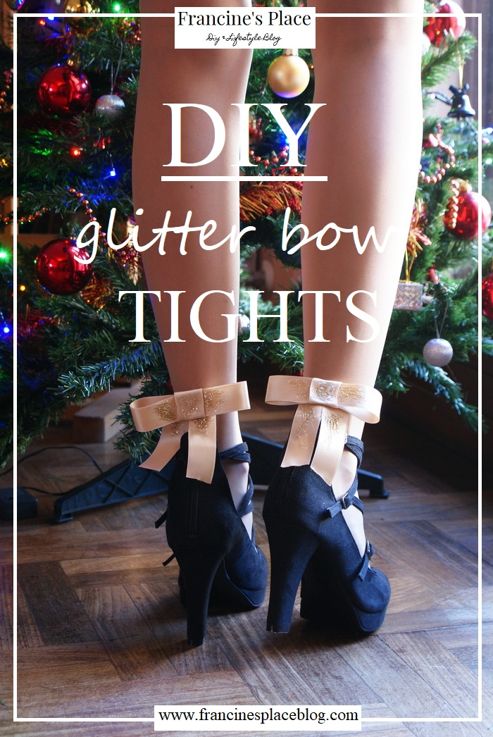 diy holiday glitter bow tights francinesplaceblog