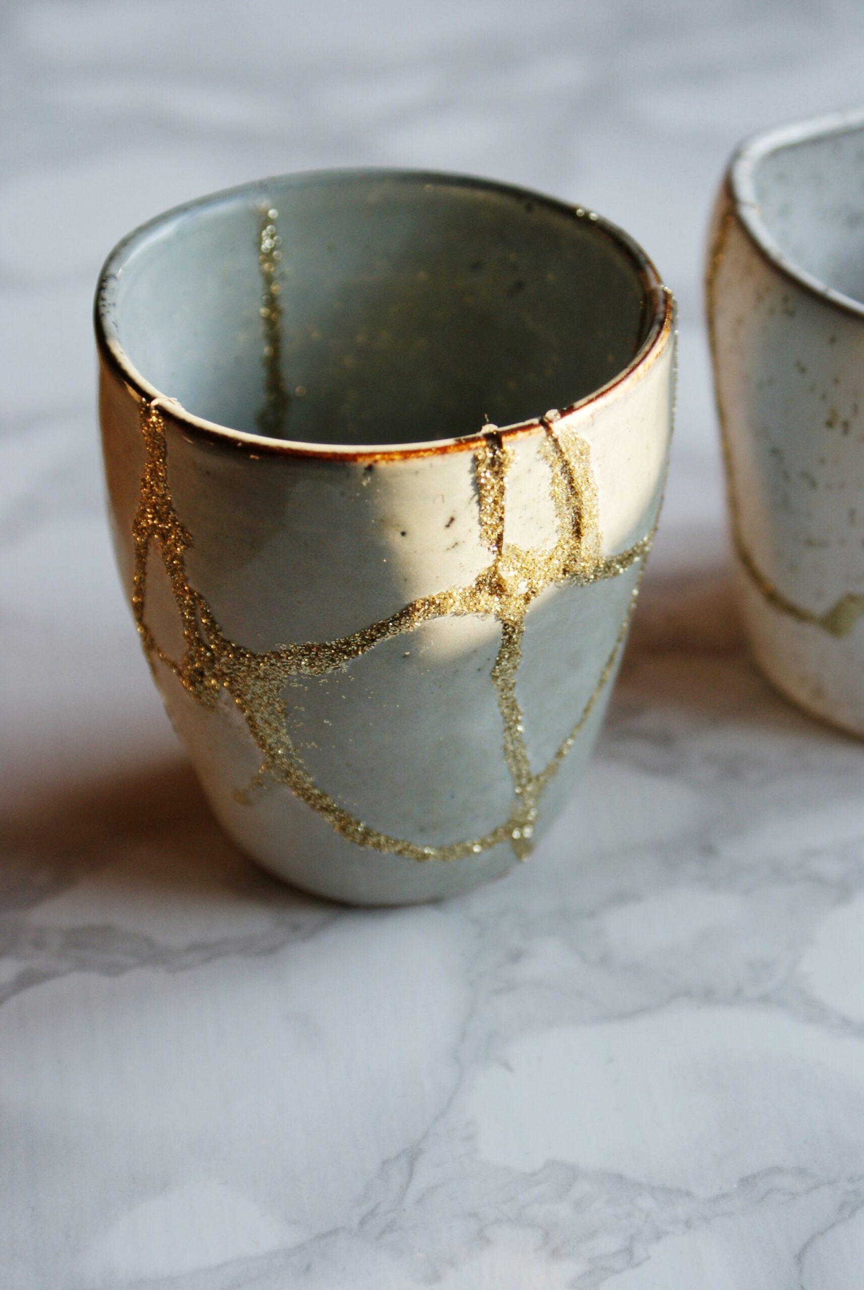 diy gold glitter japanese kintsugi