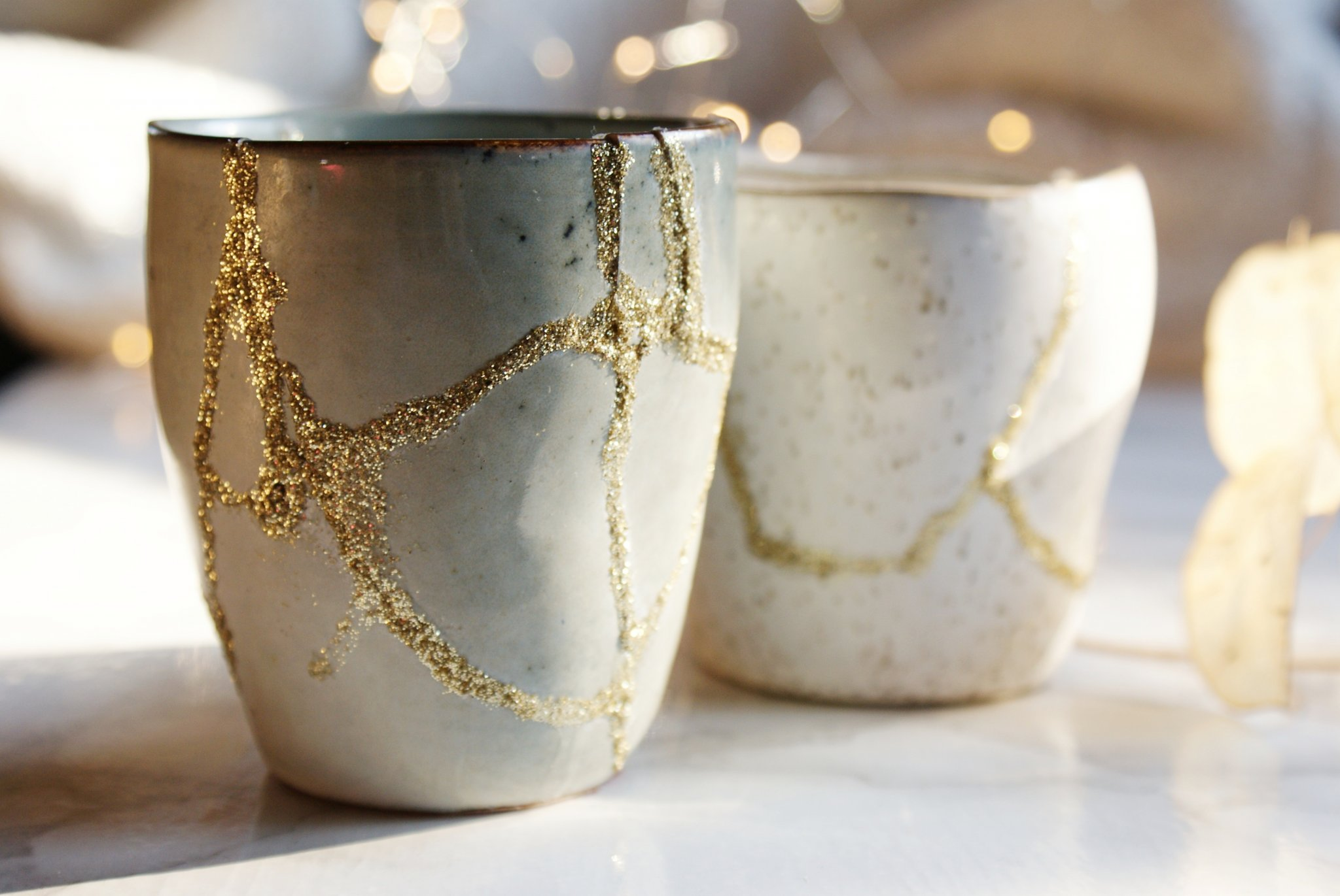 diy japanese kintsugi repair gold glitter