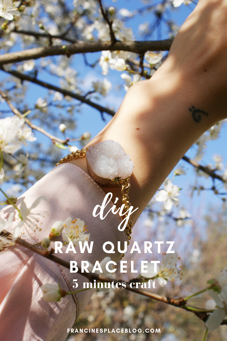 diy raw quartz bracelet jewelry easy tutorial gold francinesplaceblog