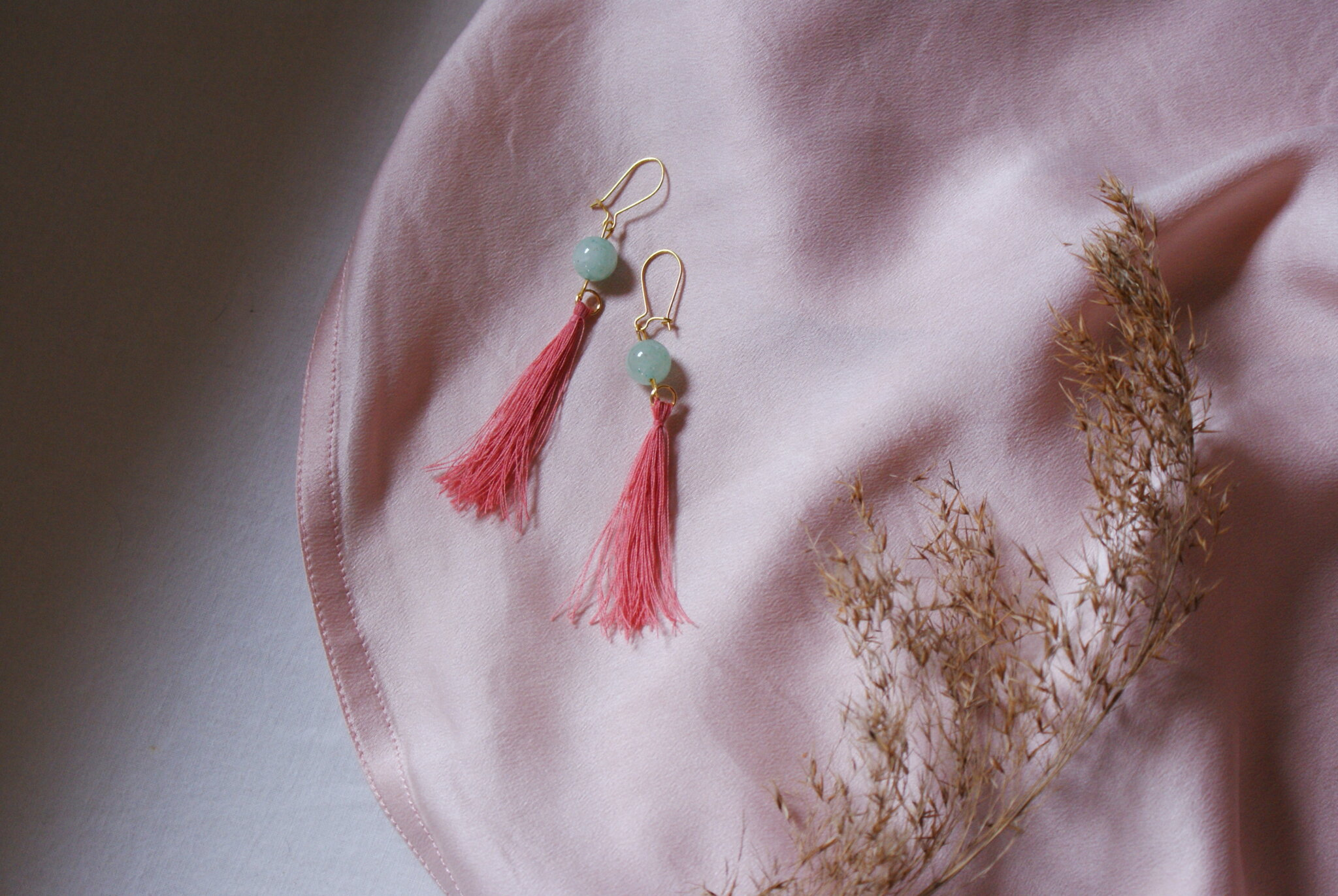 silk tassel bead earrings diy