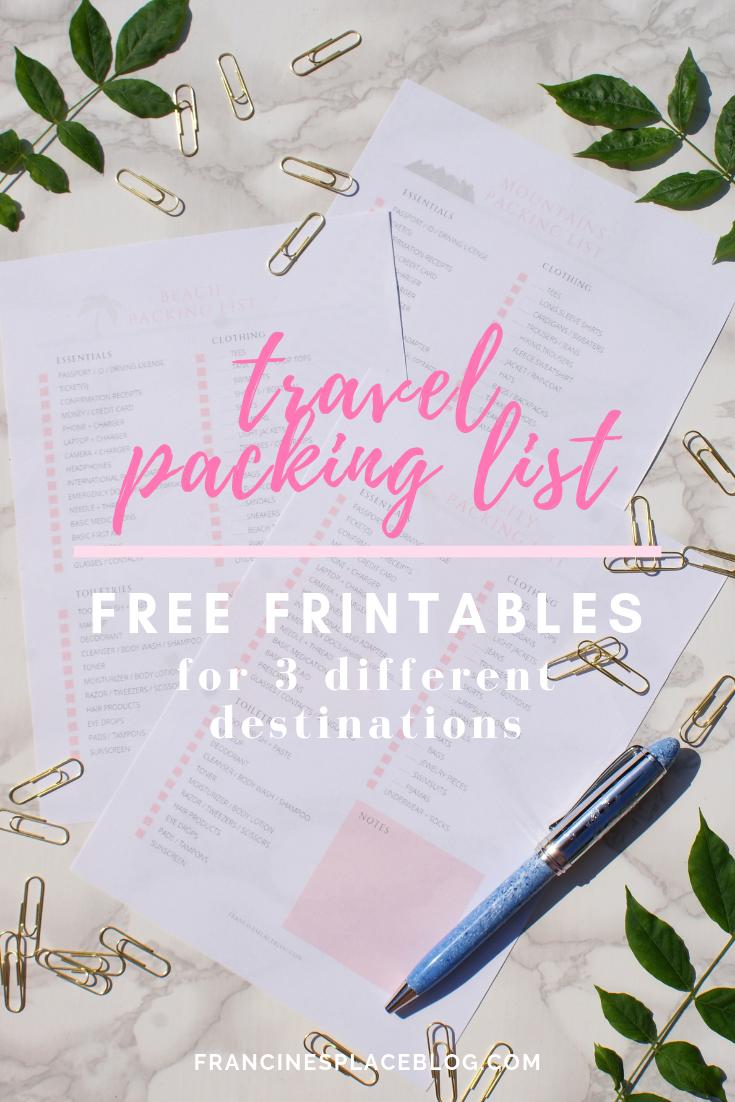 free printables packing list francinesplaceblog