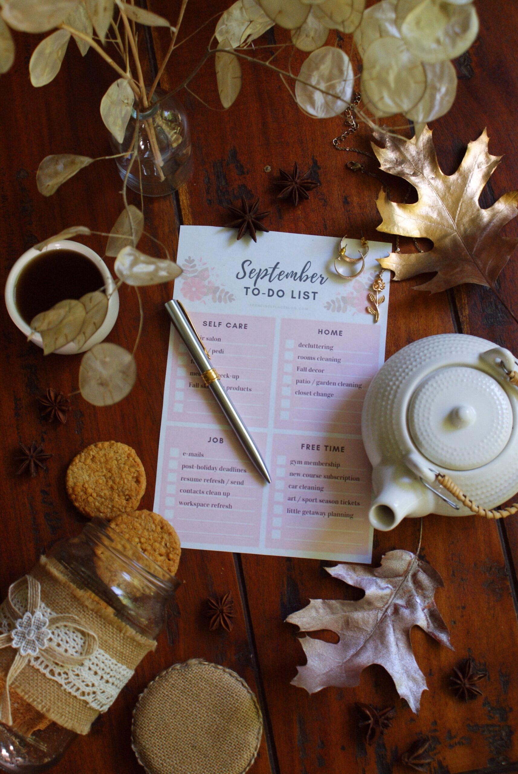 lista stampare gratis settembre autunno fare agenda pianificare
