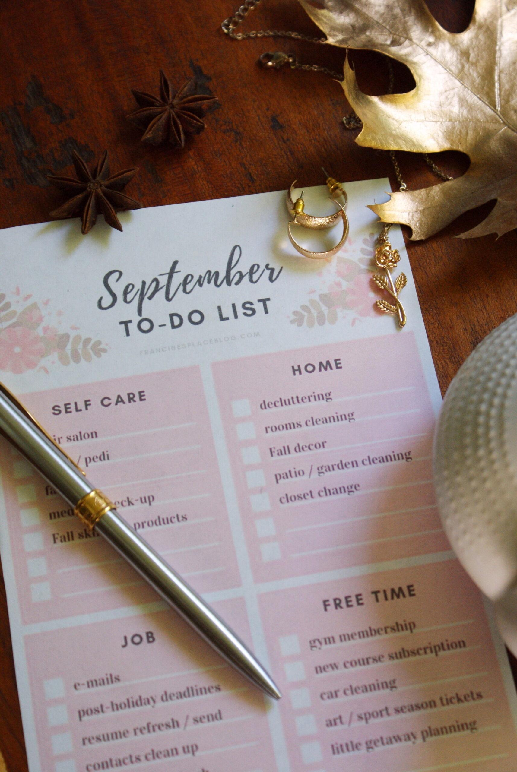 settembre fare lista planner agenda gratis stampare