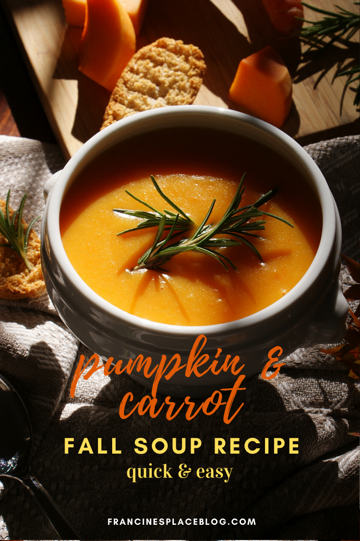 how make homemade pumpkin carrot soup easy quick Fall recipe home healthy francinesplaceblog