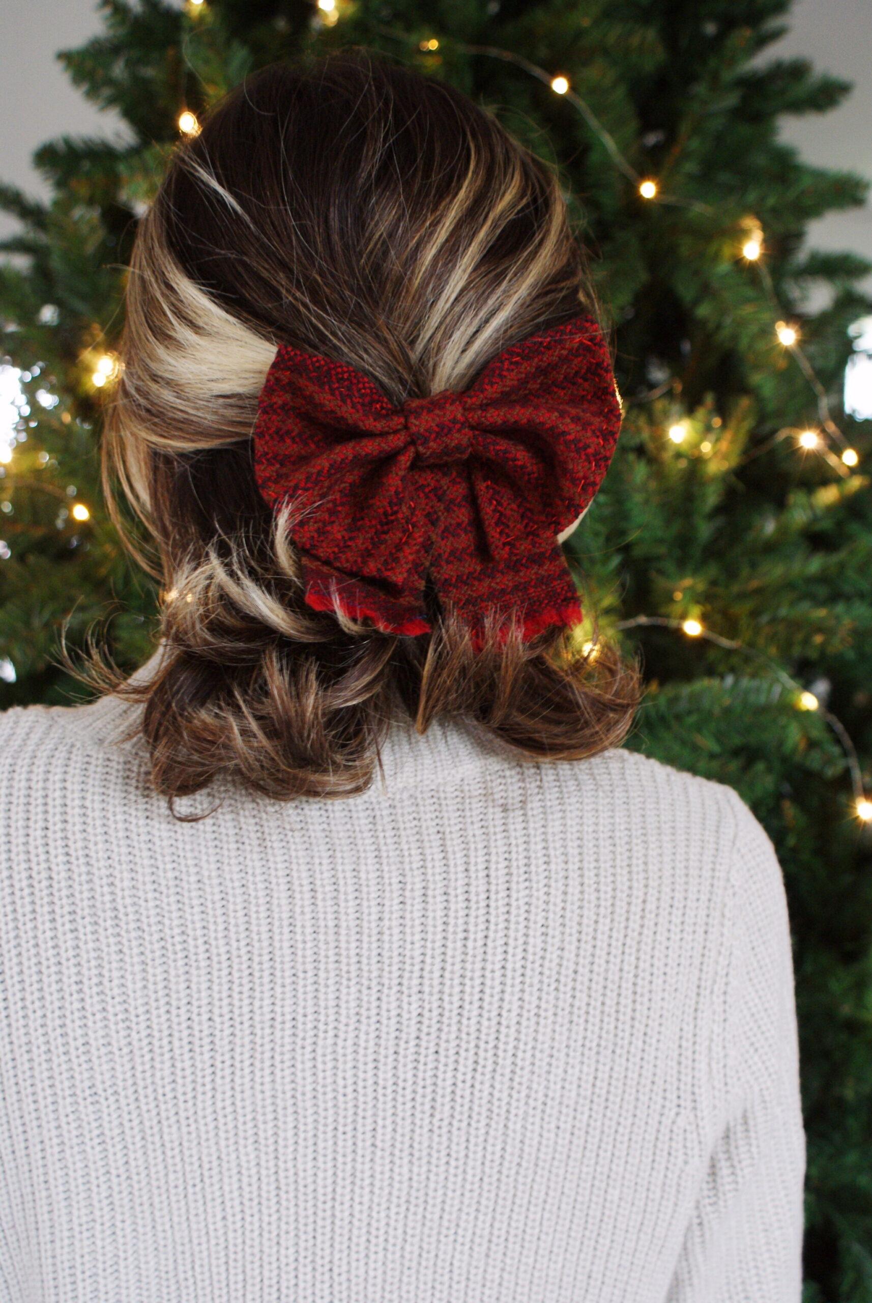 fiocco capelli lana tartan fai da te tutorial diy facile