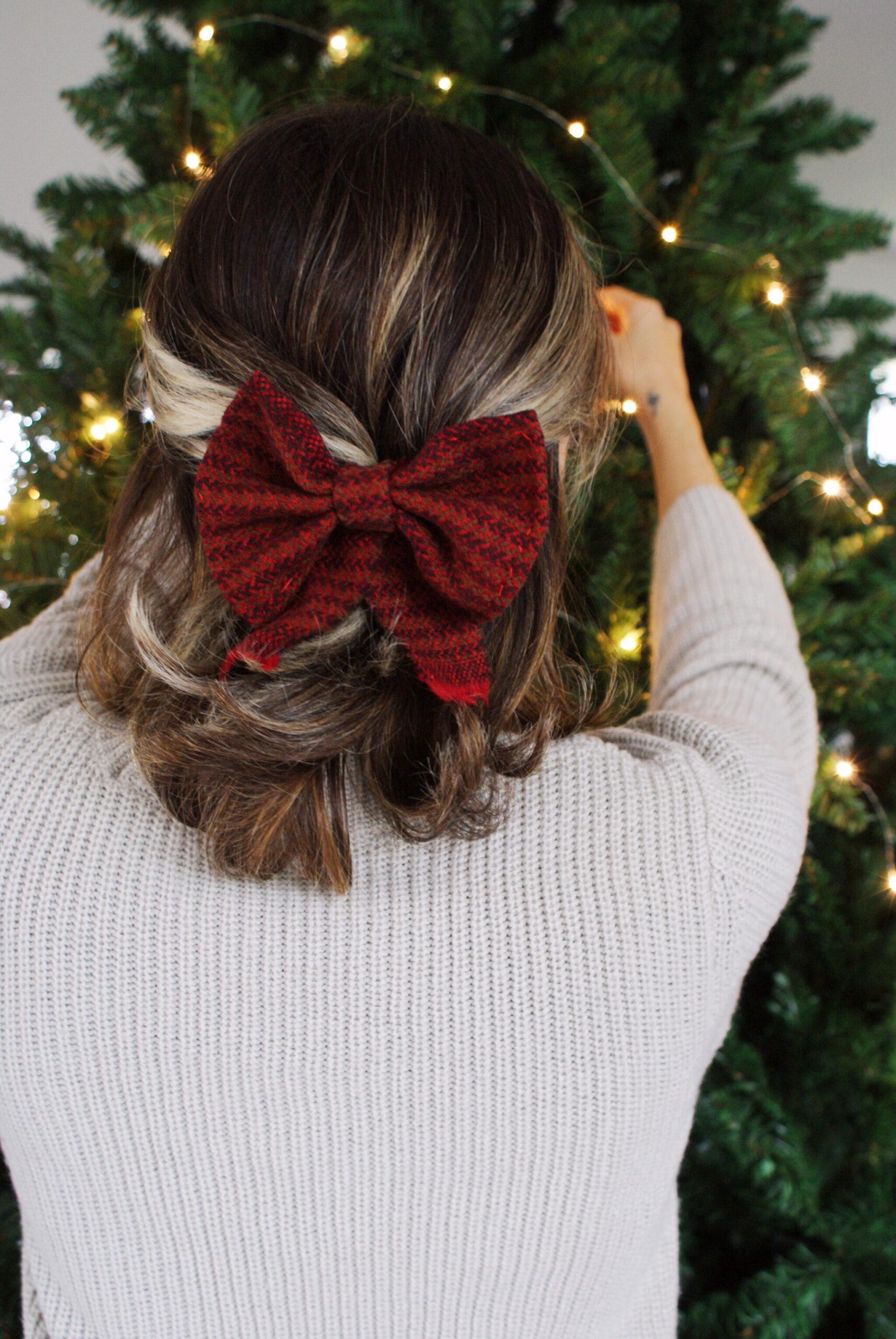 fermaglio fiocco capelli lana tartan fai da te facile tutorial
