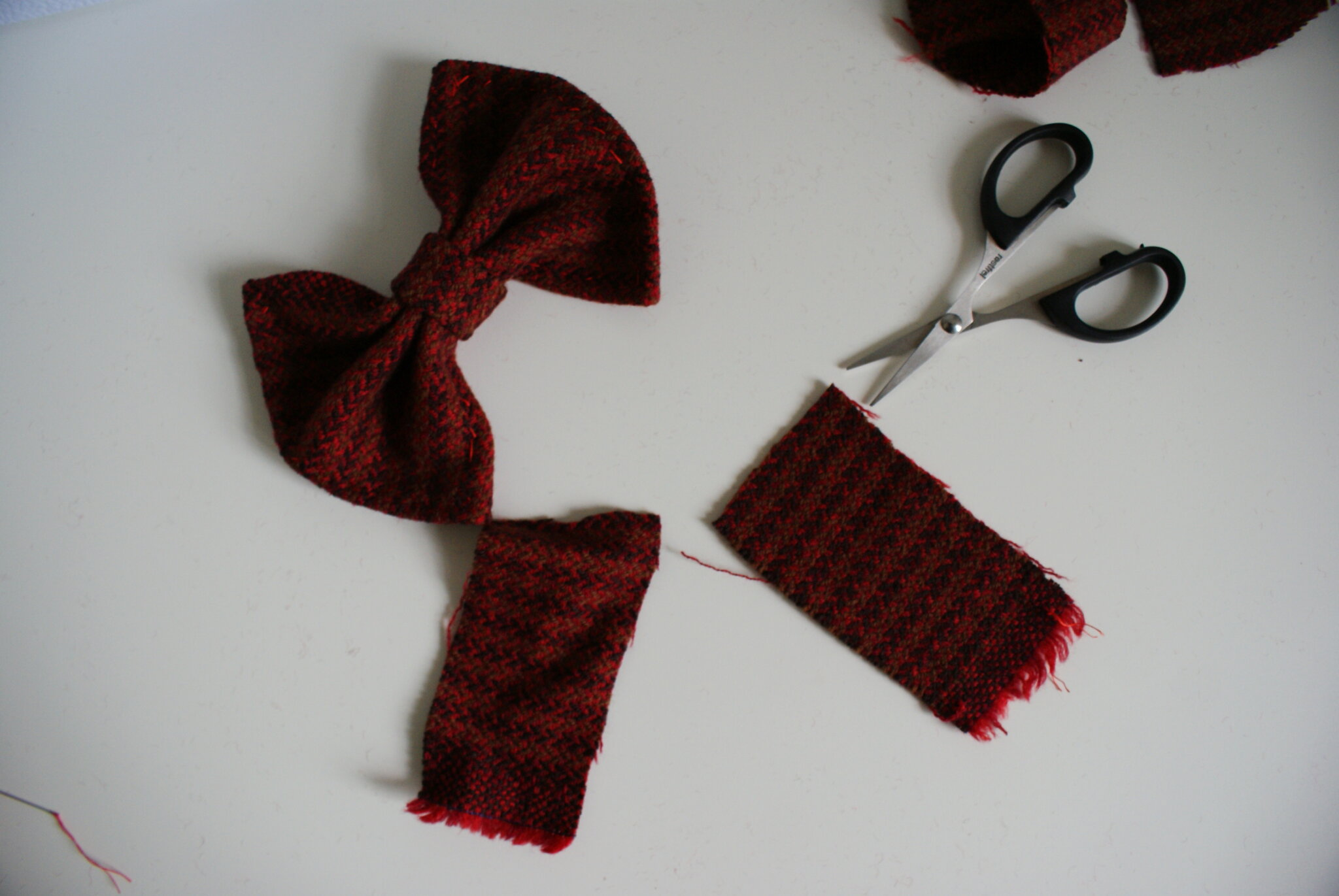 handmade sewing tartan hair bow clip