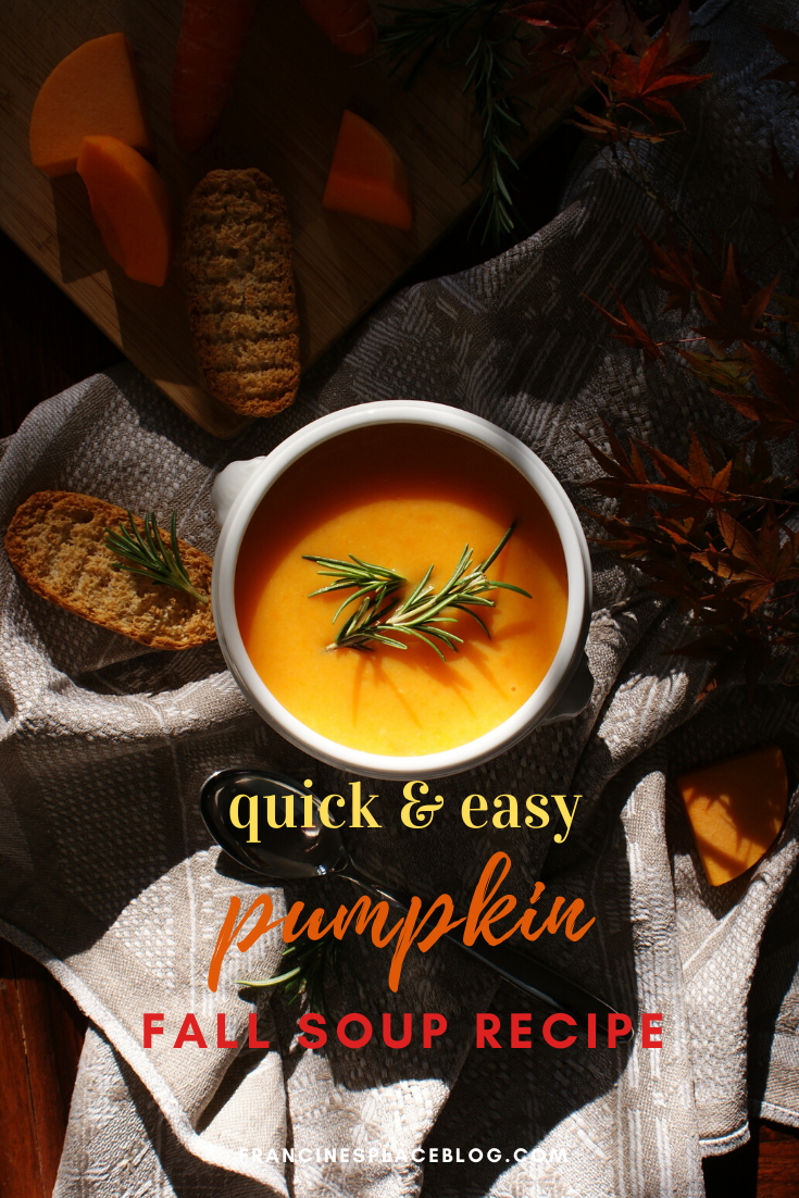 how make homemade pumpkin carrot soup easy quick Fall recipe home vegan francinesplaceblog