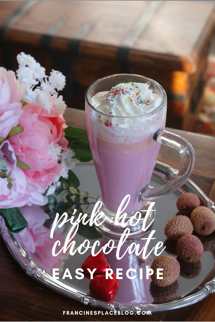 pink hot chocolate recipe unicorn ultimate easy dessert idea cioccolata calda rosa ricetta facile francinesplaceblog