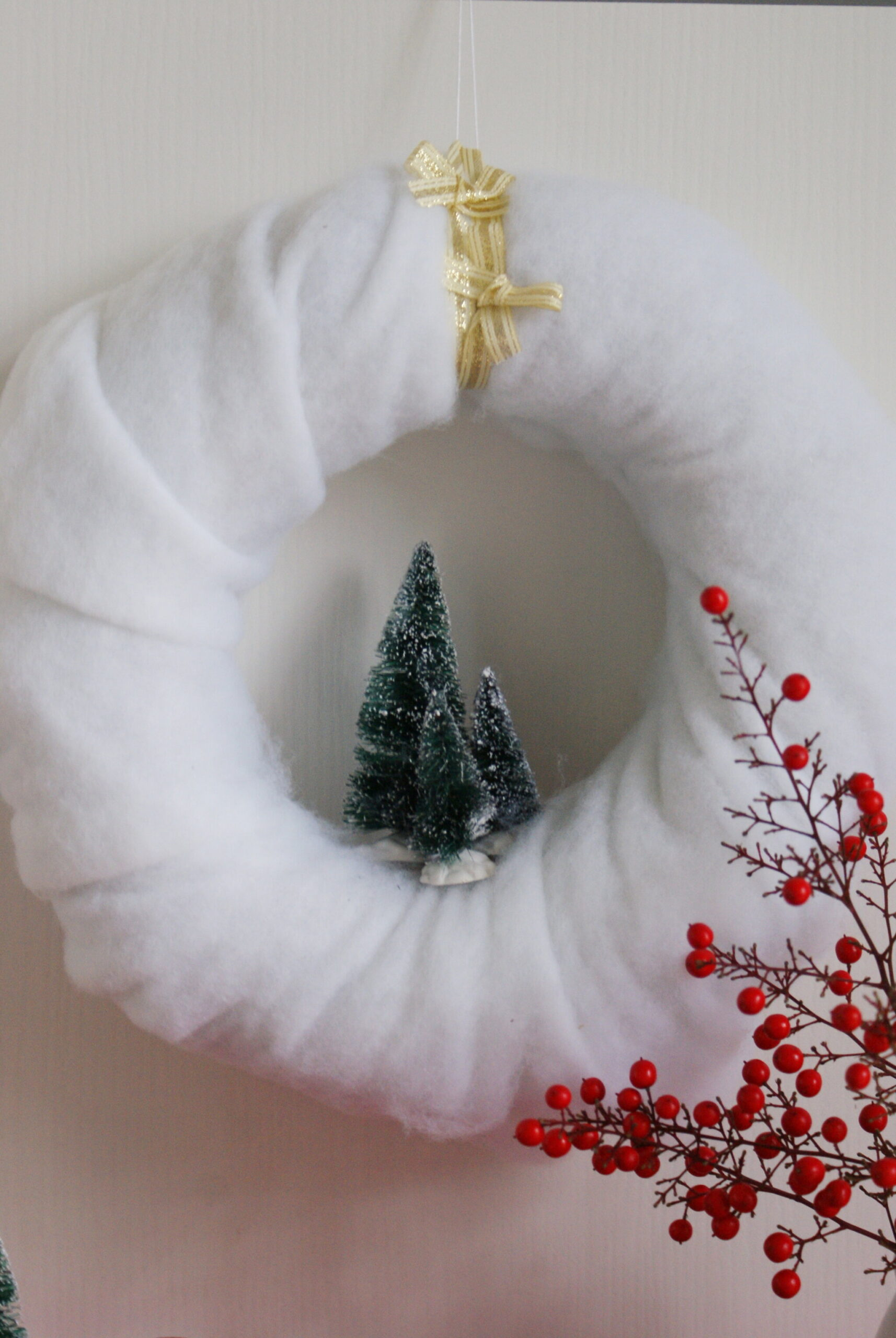 diy hanging wreath snow white cotton minimalist miniature tree christmas handmade last minute easy tutorial