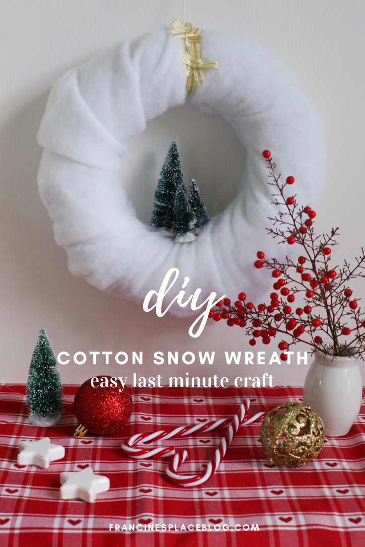 diy cotton snow wreath christmas handmade winter miniature tutorial easy decor idea francinesplaceblog