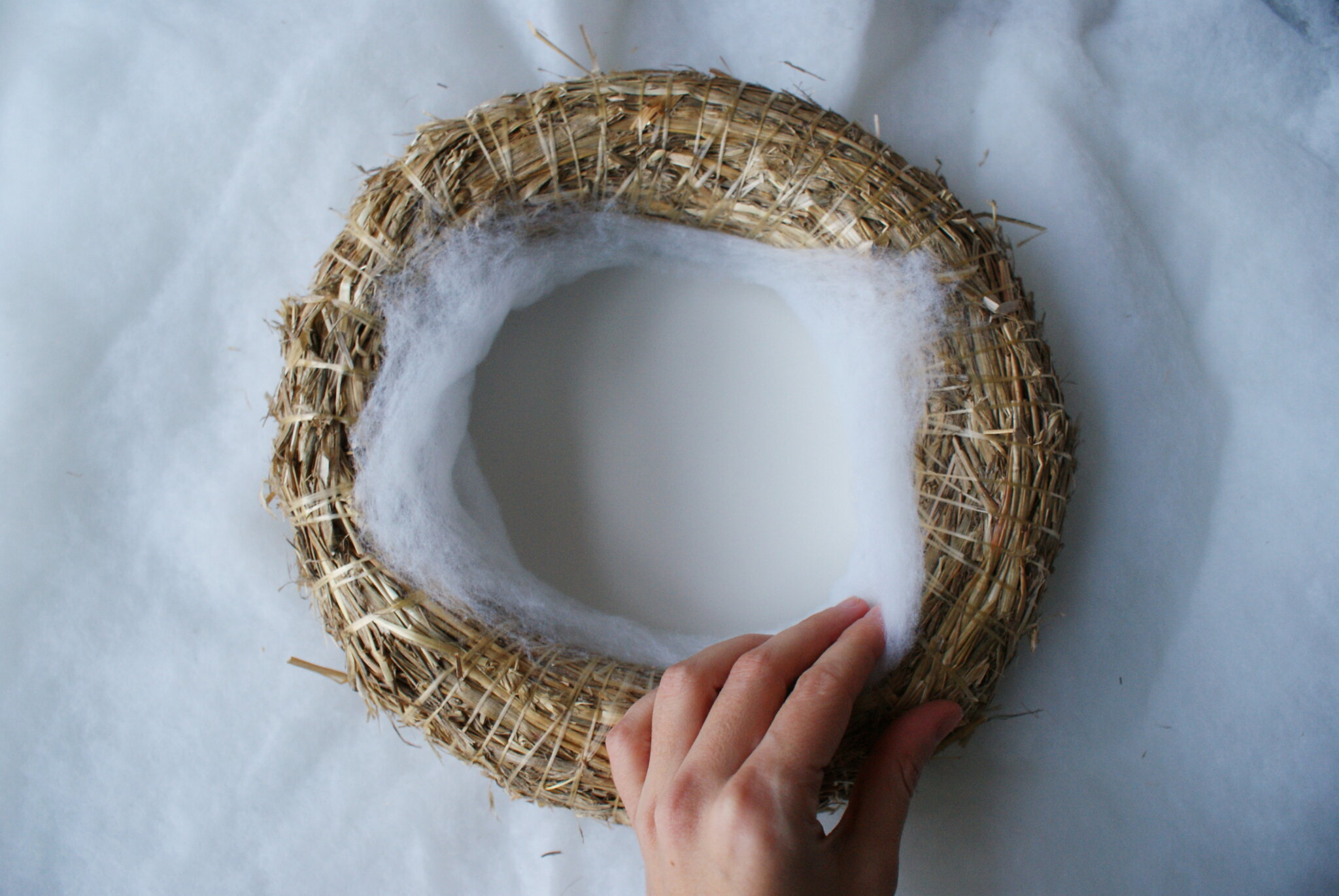 diy cotton snow wreath christmas handmade winter miniature tutorial easy decor idea