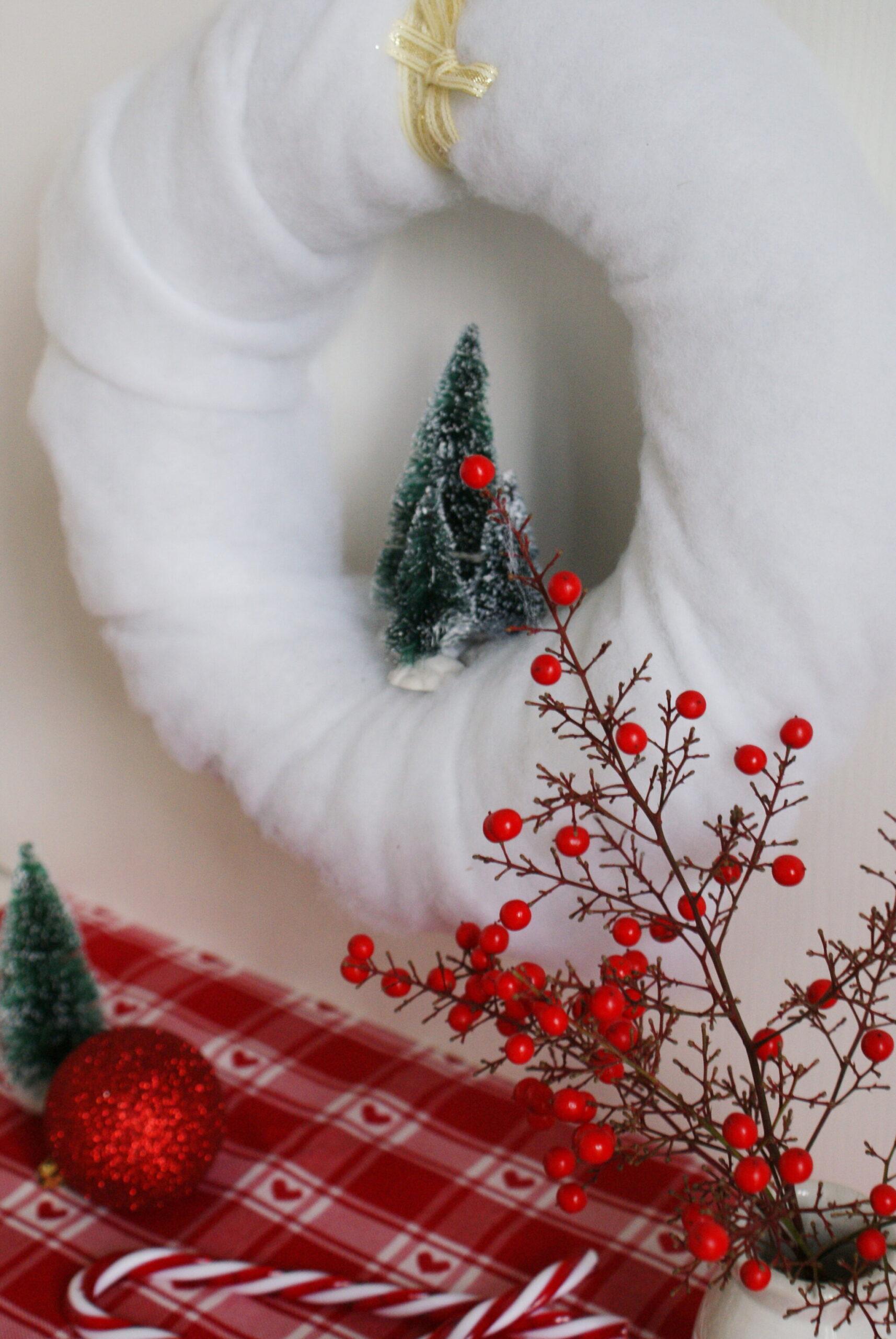 ghirlanda corona neve natale faidate fatta mano tutorial facile veloce paesaggio alberelli idea casa decorazione
