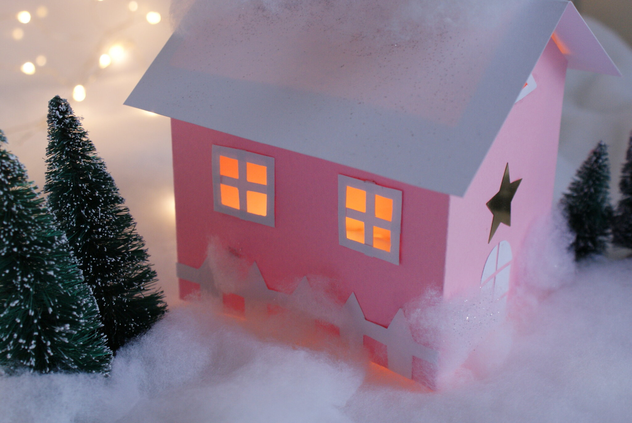 diy paper house christmas winter scene village craft idea decor home easy tutorial glitter fairy ultimate