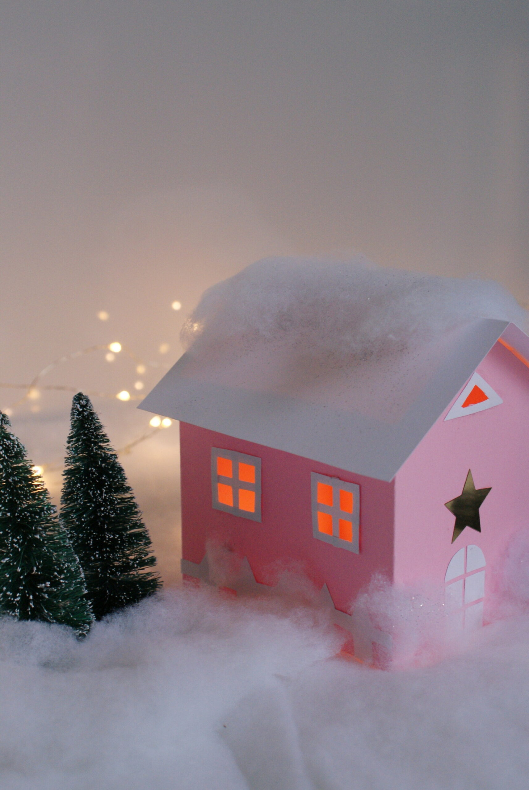 diy paper house christmas winter scene village craft idea decor home easy tutorial glitter fairy template