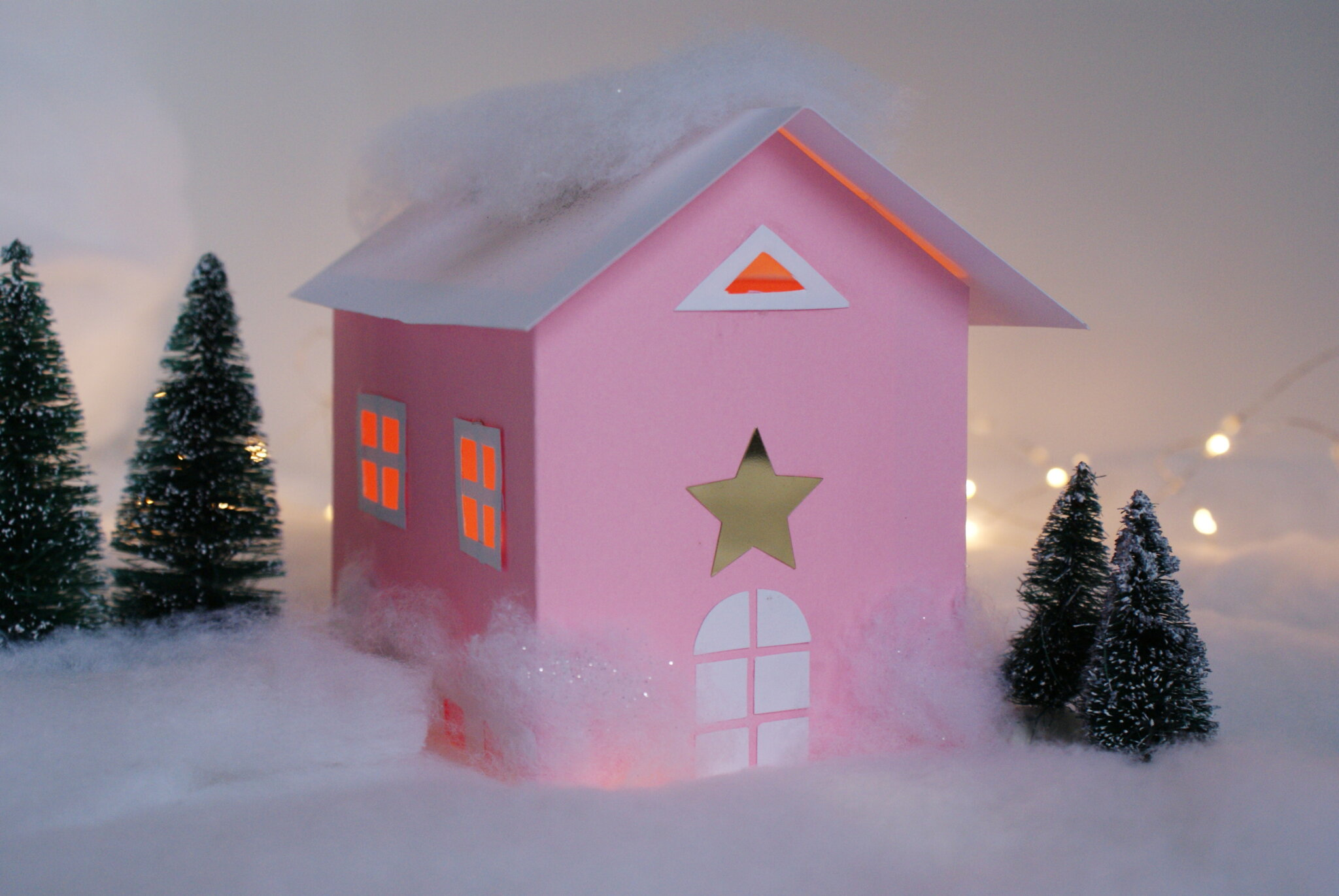 diy paper house christmas winter scene village craft idea decor home easy tutorial glitter fairy best