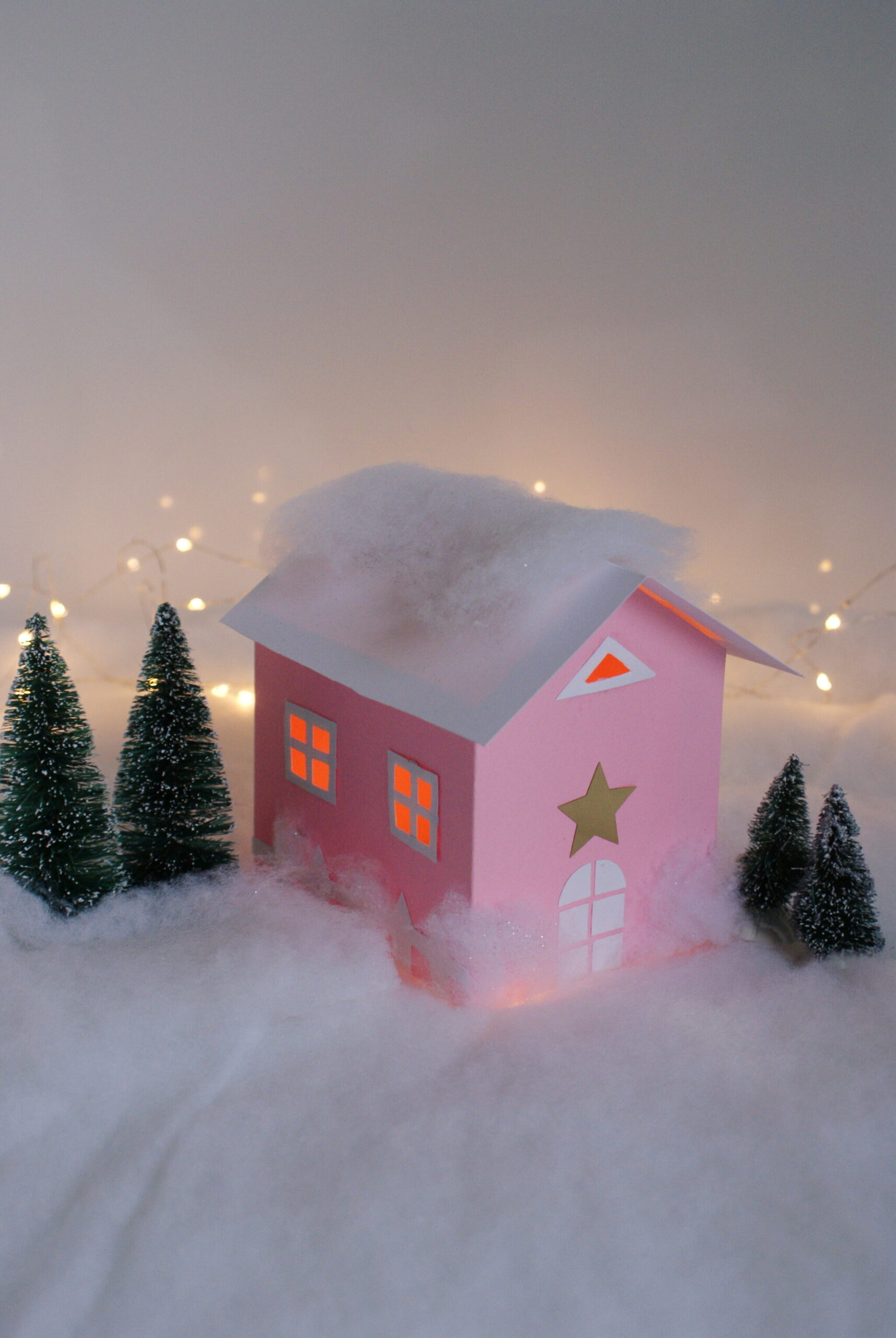diy paper house christmas winter scene village craft idea decor home easy tutorial glitter fairy francinesplaceblog
