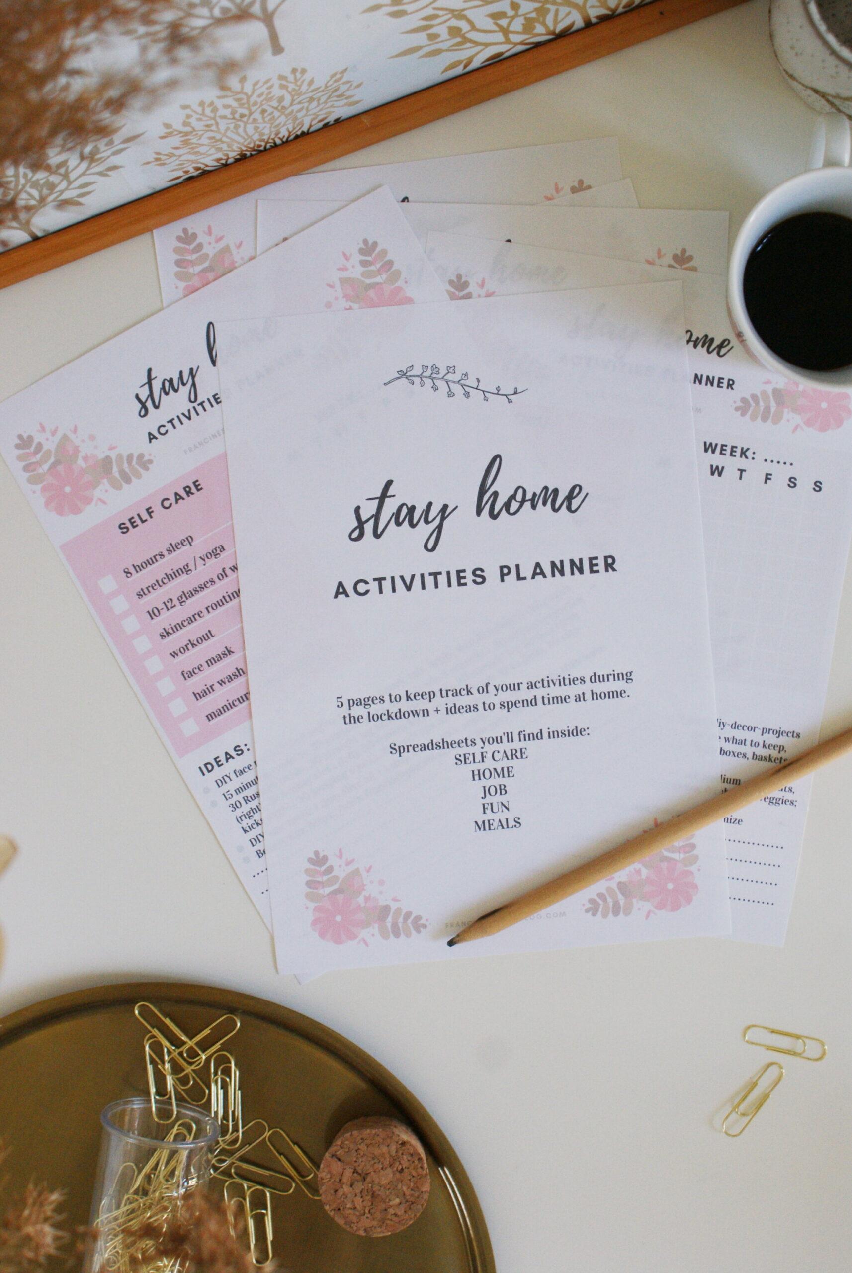 free printable stay home activities planner quarantine lockdown covid francinesplaceblog