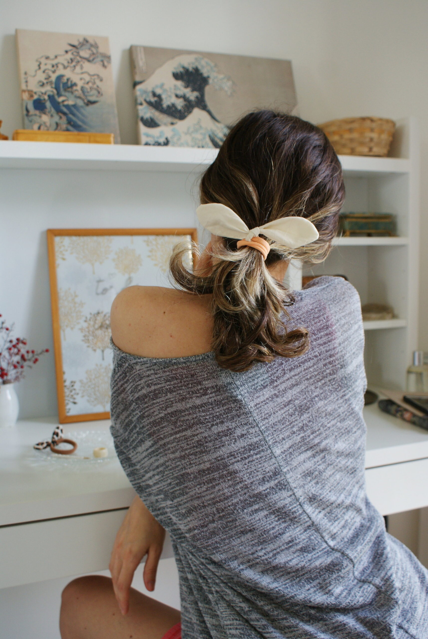 diy bunny ear bow knot hair ties scrunchies tutorial how make home sewing easy handmade project francinesplaceblog
