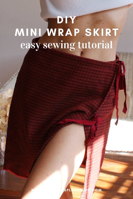 diy mini wrap wool skirt easy sewing tutorial simple free sample francinesplaceblog lace up tartan