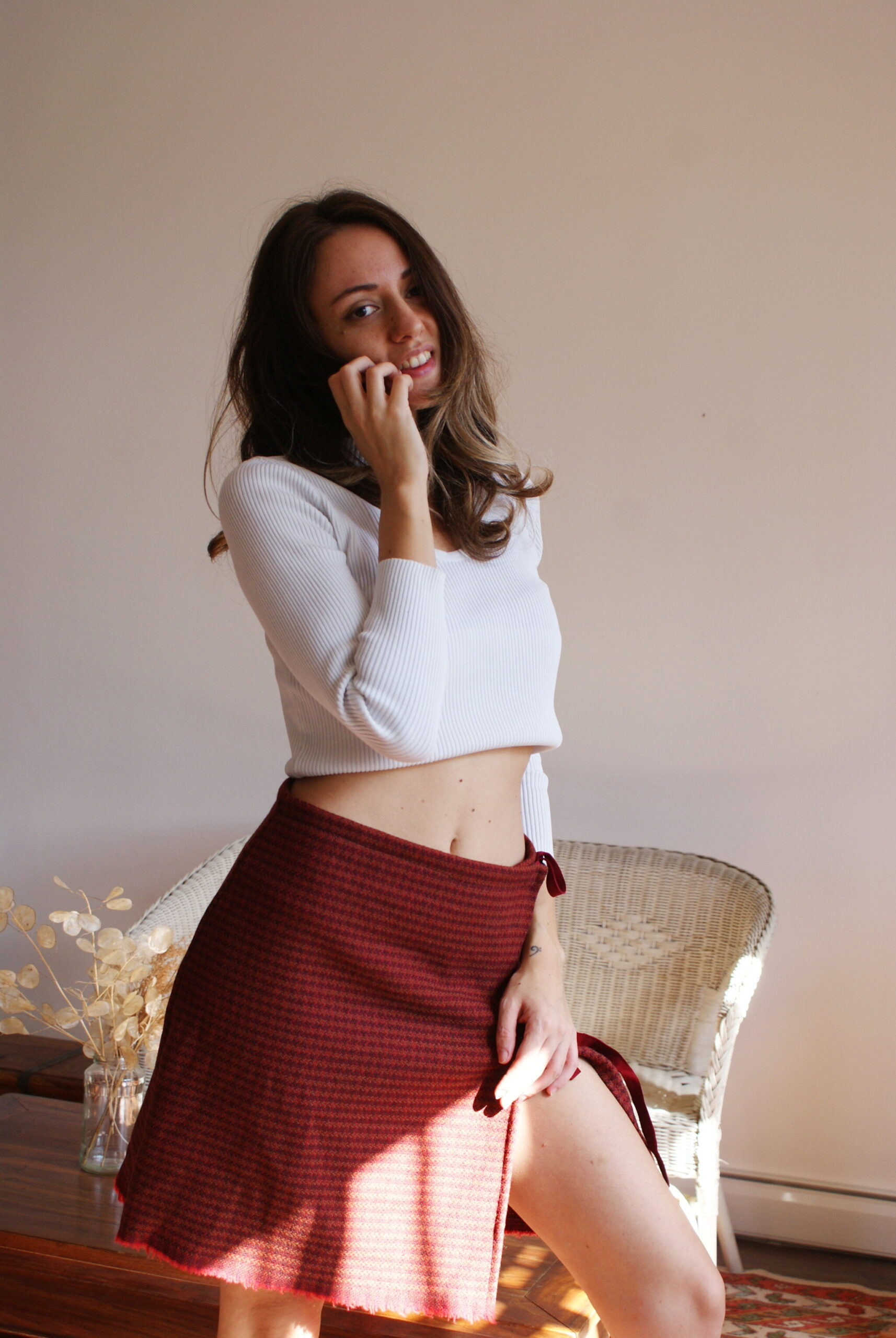 diy mini wrap wool skirt easy sewing tutorial simple free sample francinesplaceblog lace tartan plaid